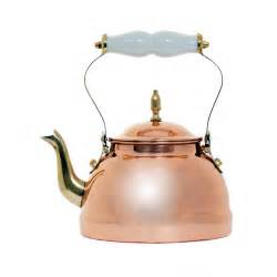 old dutch copper tea kettle with brass accents and ceramic handle shopperschoice com