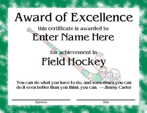hockey certificate templates award certificate templates