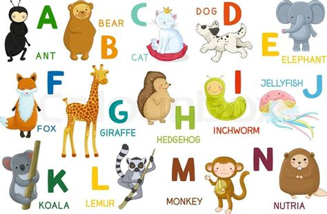animal alphabet character stock vector animals abc letter a n characters animals and