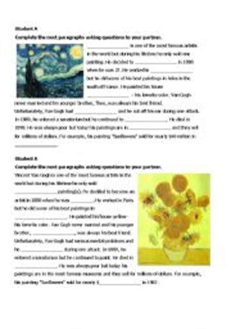 artist biography reading comprehension english teaching worksheets van gogh
