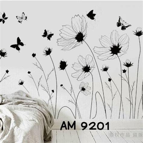 Wall Sticker Siluet Bunga Ay817 gambar bunga hitam putih