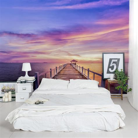 murals for bedrooms thailand pier sunset wall mural