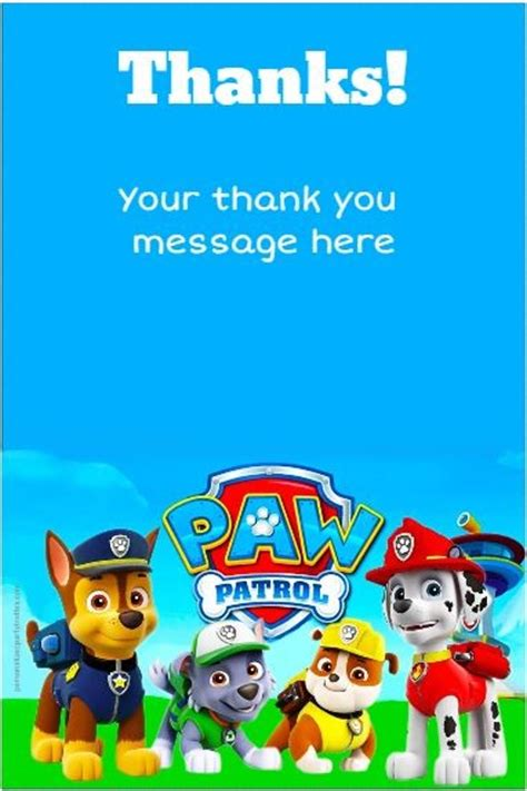 printable thank you cards paw patrol paw patrol thank you card personalized party invites