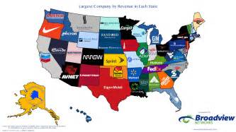 Companies Headquartered In Largest Companies By Revenue In Each State Map