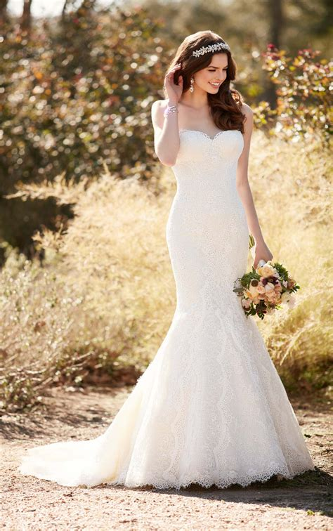 fit and flare wedding dress with chapel essense of