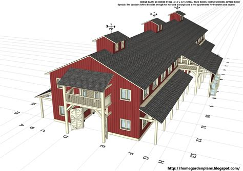 barn blueprints home garden plans h20b1 20 stall horse barn plans