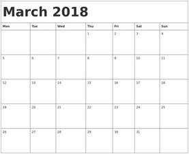 Calendar 2018 March Uk March 2018 Calendar Template