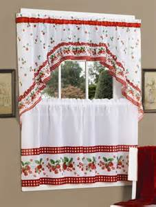 Strawberry Kitchen Curtains Strawberry Vine Printed Tier And Swag Curtain Collection By Achim Paulshomefashions