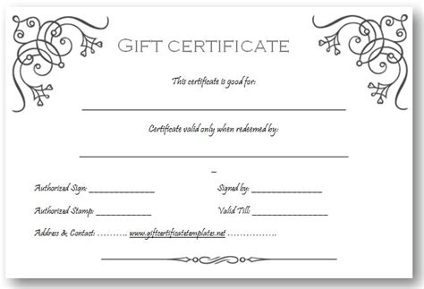 printable blank gift certificate template business gift certificate template beautiful