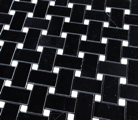 11 95sf nero marquina polished 1x2 quot basketweave mosaic tile