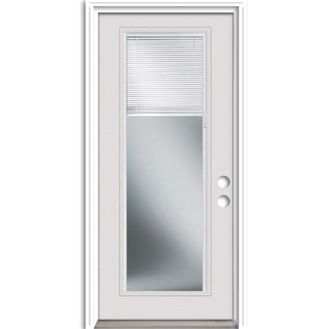 Exterior Door With Blinds Shop Reliabilt Blinds Between The Glass Left Inswing Primed Steel Entry Door With