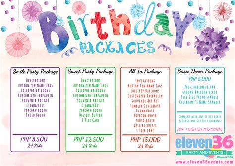 birthday package eleven36 party events cebu