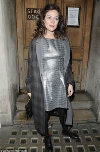 Anna Friel ditches her Uncle Vanya costume for futuristic silver dress as she leaves the theatre