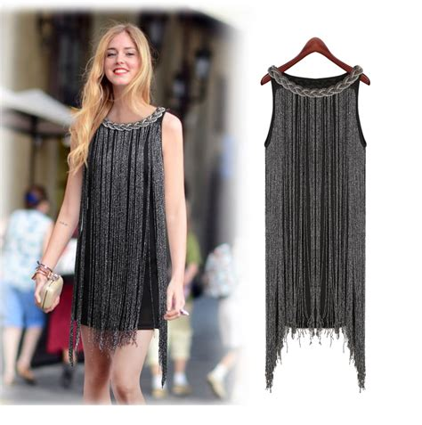 halter neck fringe beaded woman dress great gatsby ombre