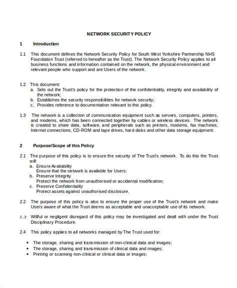 Network Policy Template security policy template 7 free word pdf document