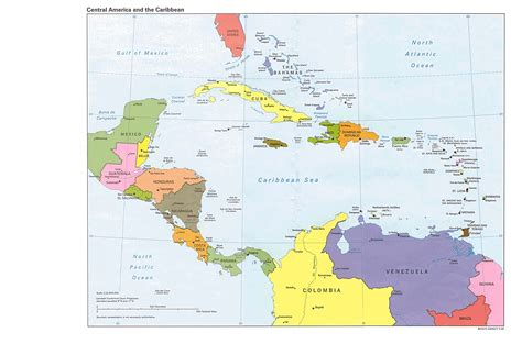central map central america and the caribbean political map 1995