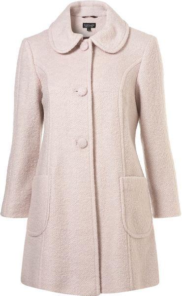 topshop swing coat topshop textured peter pan swing coat in pink light pink