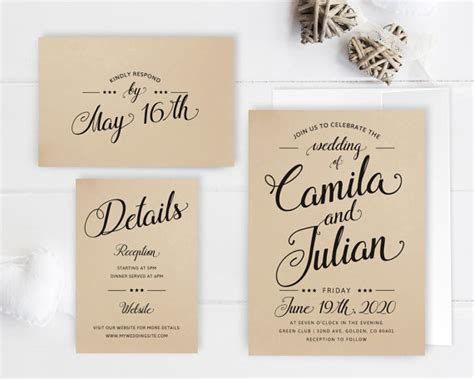 Wedding Invitation Packages by Cheap Wedding Invitation Packages Kraft Wedding Invitation