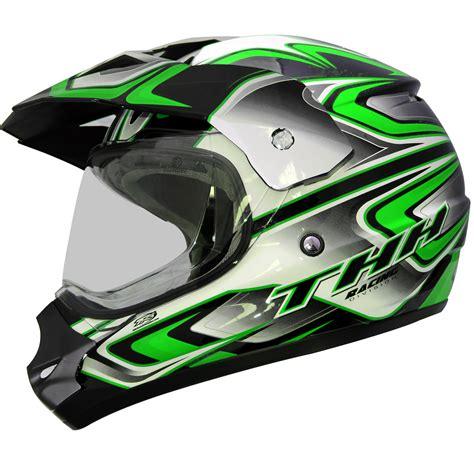 green motocross helmet thh tx 13 3 black green dual sport helmet mx motocross