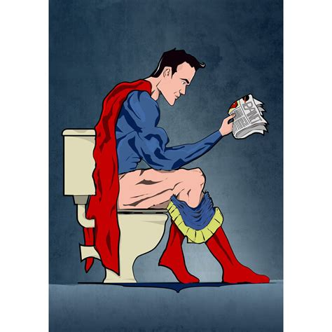 superman on the toilet bathroom poster art print ethical