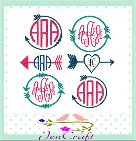 monogram ideas monogram frame cutting files and arrows on pinterest
