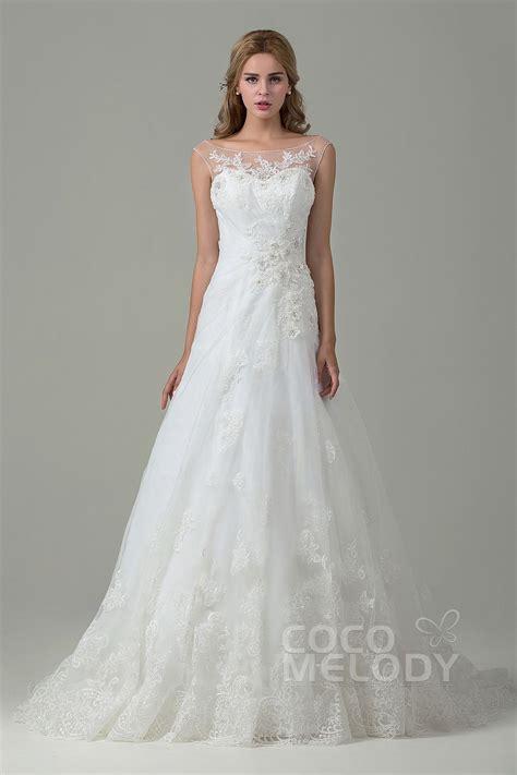 A Line Wedding Dresses by Cocomelody A Line Illusion Tulle Lace Wedding Dress