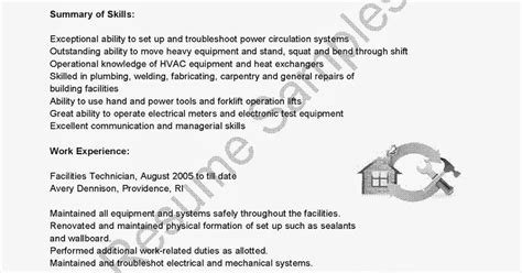Facilities Technician Sle Resume by Resume Facilities Technician 28 Images Unforgettable Maintenance Technician Resume Exles To