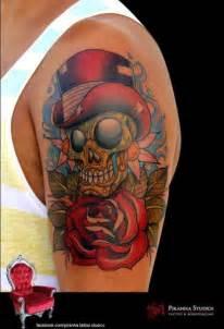 new blumen totenkopf hut tattoo von piranha tattoo
