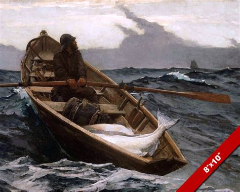 row boat canvas art ocean man row boat sea fishing fine art painting real