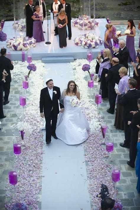 Ceremony Décor Photos   Purple Petal Aisle   Inside Weddings