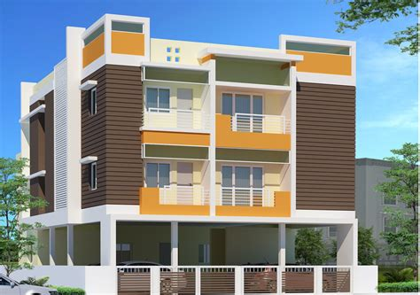 three story building square sized three story residential building 3 d elevation gharexpert