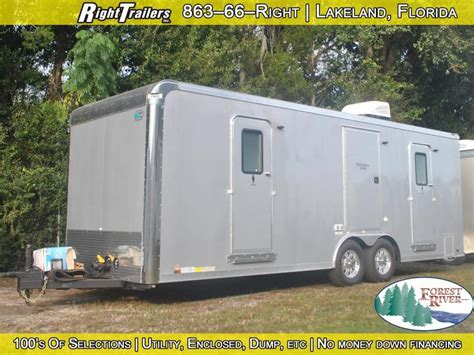 trailer bathroom rental three station restroom trailer rental right trailers new and used cargo and