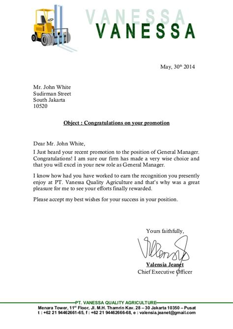 Promotion Greeting Letter Meeting 10 Congratulation Letter Versi Valensia