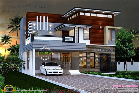 2600 sq ft cute decorative contemporary home kerala home eterior design modern small house architecture building