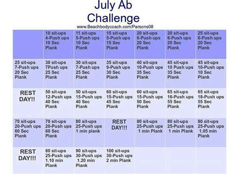25 best ideas about july ab challenge on august workout challenge july workout