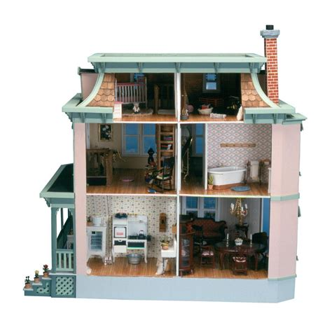 wooden doll house kits new victorian dollhouse kit wooden w wrap around pourch back door doll house