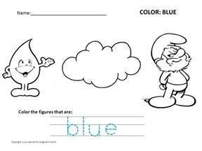 coloring worksheets coloring pages recognizing colors blue preschool