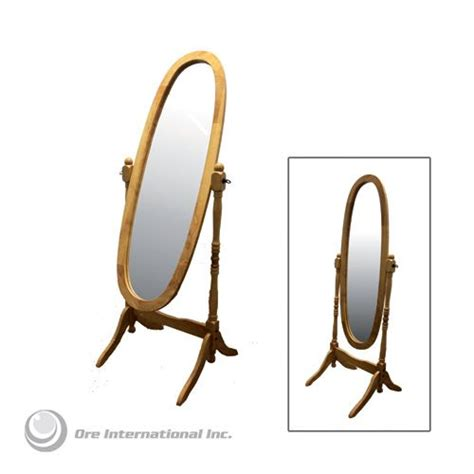 ore natural wooden cheval floor mirror