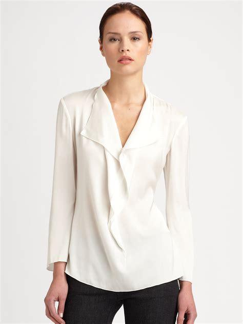 Blouse Ruffle armani silk ruffle blouse in white lyst