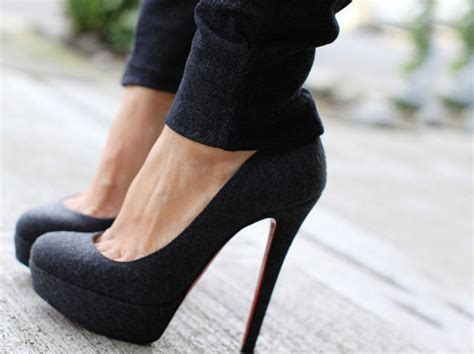 black heels jeans sexy shoes image   favimcom
