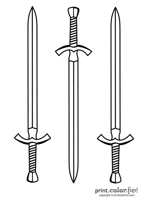 knight sword coloring page three swords coloring page print color fun