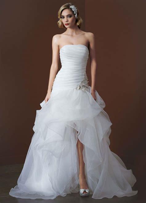 davids bridal organza  tulle high  wedding dress