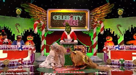 celebrity juice the grinch ayda field and fearne cotton move a christmas bauble using