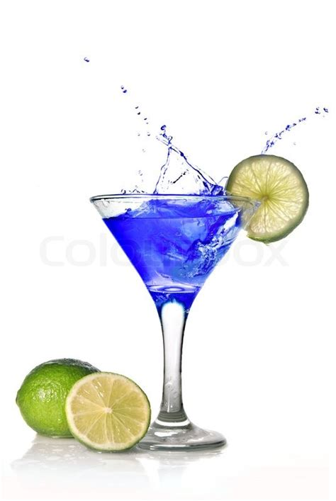 cocktail splash blue cocktail with splash isolated on white stock photo
