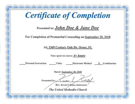 marriage counseling certificate of completion template florida premarital course licensed provider only