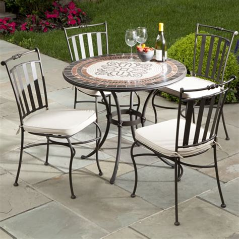 5 Piece Orvieto Mosaic Outdoor Cafe Set From Alfresco Mosaic Patio Table And Chairs