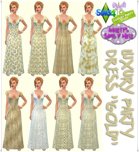 Fashion Luxury 1011 sims 4 luxury dress gold