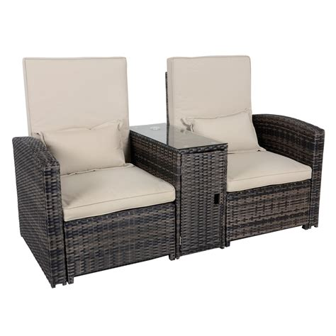 antigua rattan wicker reclining sun lounger companion