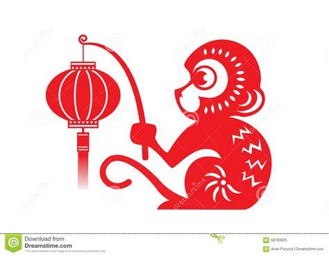 new year monkey lantern paper cut monkey zodiac symbol monkey holding lantern