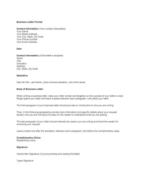 Business Letter Template Mla outline of a business letter the letter sle